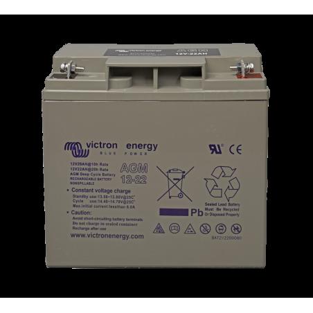 Batterie Victron Energy - 12V/22Ah AGM Deep Cycle de face sur fond blanc