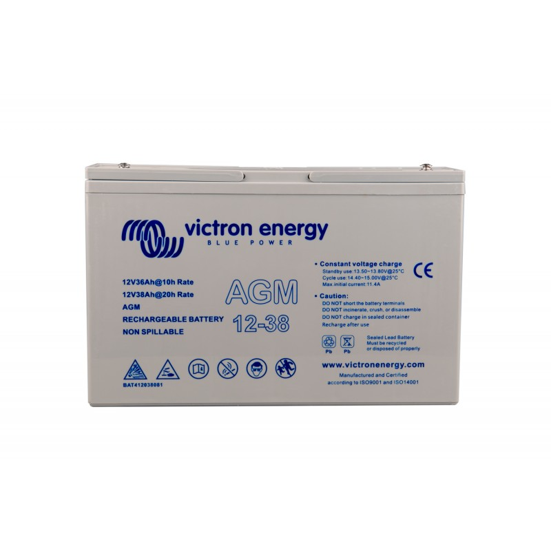 Batterie Victron Energy - 12V/38Ah AGM Deep Cycle de face sur fond blanc