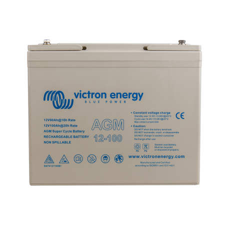 Batterie AGM Victron Energy - 12V/100Ah AGM Super Cycle (M6) de face sur fond blanc