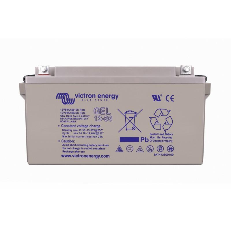 Batterie GEL Victron Energy - 12V/66Ah Gel Deep Cycle de face sur fond blanc
